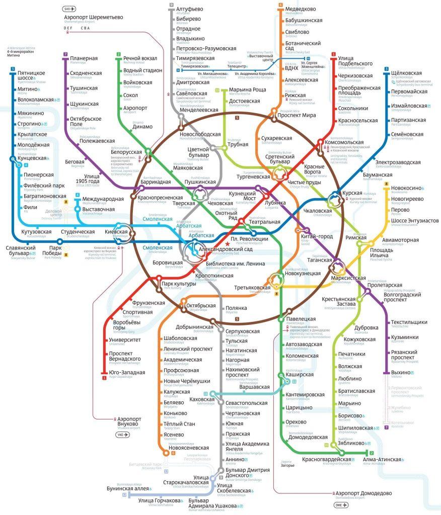 Moscow underground metro map